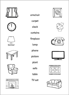 Living Room vocabulary for kids learning English