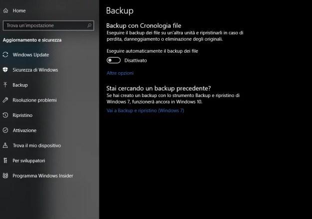 bck01 - Come creare un immagine di sistema in Windows 10