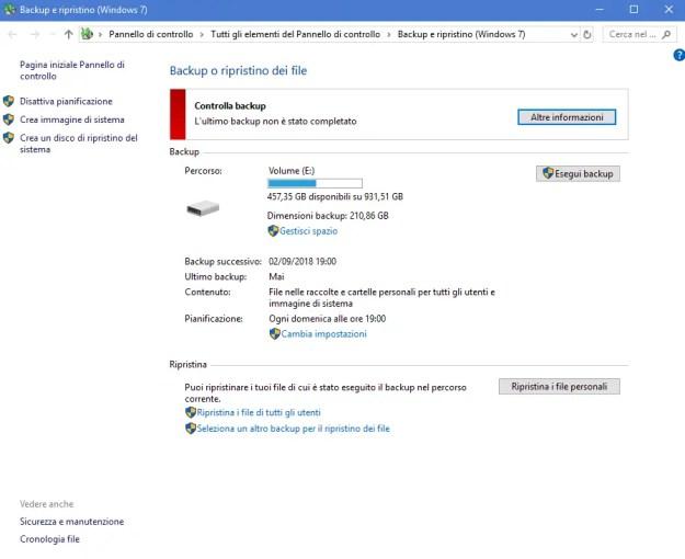bck02 - Come creare un immagine di sistema in Windows 10