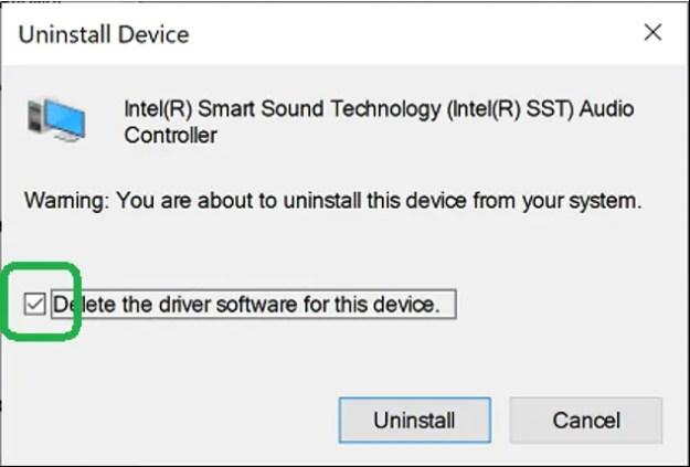 uninstall device checkbox - FIX: Nessun dispositivo audio dopo aggiornamento di Windows 10 (aggiornato)