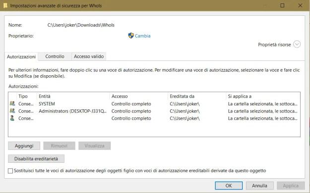 sicur01 - Come diventare proprietario di un file, cartella o di tutto il disco