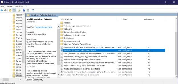 wd01 - FIX: Windows Defender La protezione da virus e minacce è gestita dalla tua organizzazione