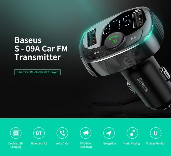 Baseus S - 09A Car FM Transmitter Bluetooth MP3 Player