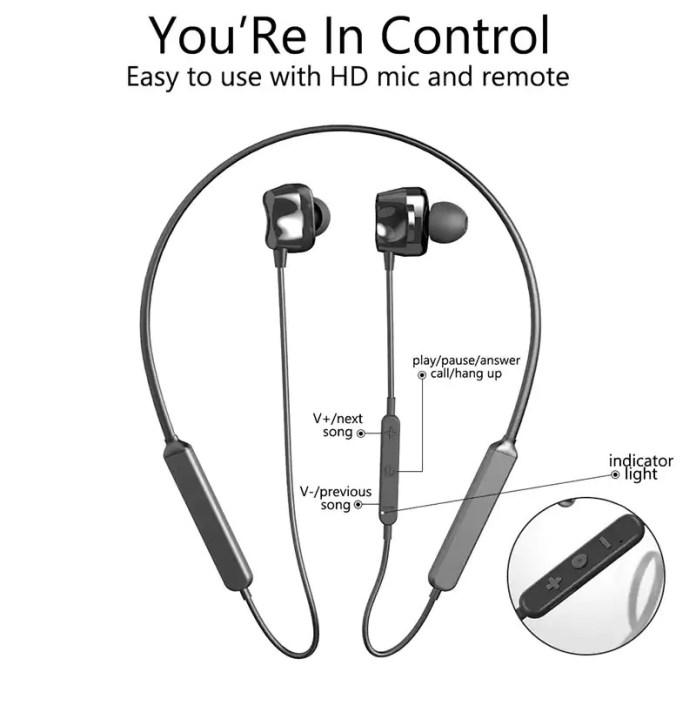 Tourya S7 Wireless Sport earphones Bluetooth 5.0 contros