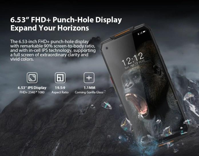 oukitel WP7 Rugged smartphone screen