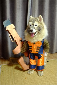 Man and Dog as Groot and Rocket Raccoon
