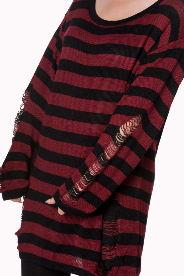 Touch Break Striped Oversized Distressed Sweater Banned