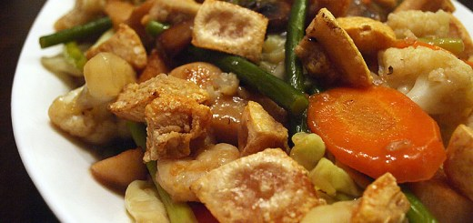 Pork Crackling in Stir Fried Garlic Sprouts, Cauliflower and Carrots