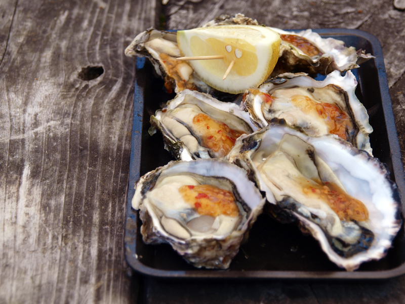 Oysters on the Half Shell served with Sweet Chilli and ...