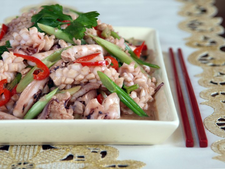 Stir Fried Squid and Salted Duck Eggs