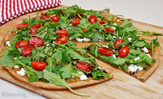 Guest Post : Judy from Savoring Today featuring Fig, Chevre & Arugula Pizza 1