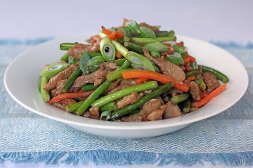 Shredded Pork and Garlic Sprouts Stir Fry
