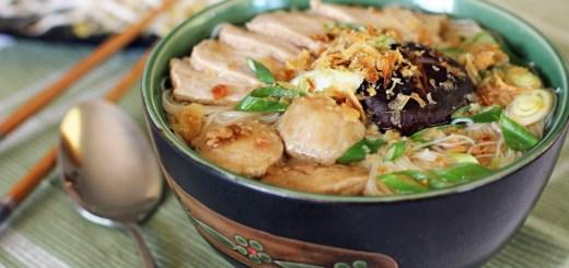 Pork and Mushroom Noodle Soup (Bun Moc)