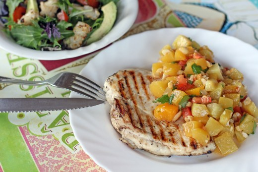 Grilled Chicken and Peach Mango Salsa 4
