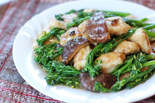 Monk Fish and Broccolini in Shiitake and Black Bean Sauce 1