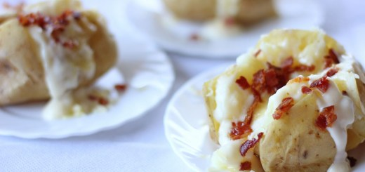 Baked Potato with Cheese Sauce and Bacon 2