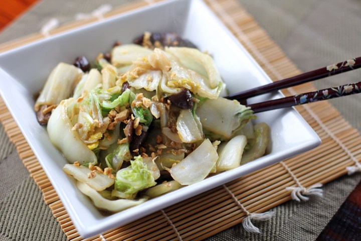 Stir Fried Chinese Cabbage and Shiitake Mushrooms Wide
