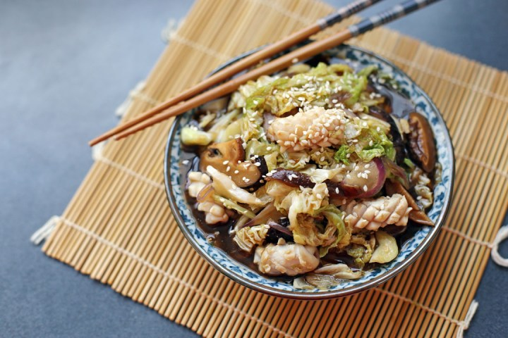 Cabbage and Squid Stir Fry Wide
