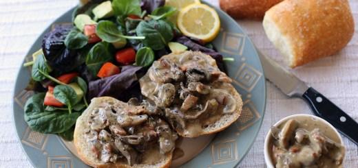 Creamy Mushroom, Chicken Livers and Pancetta in Ciabatta 1