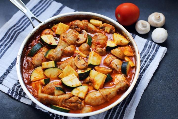 Italian Chicken, Mushroom, and Zucchini Skillet Wide