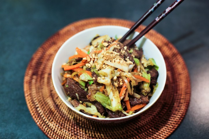 Beef and Vegetable Stir Fry in Peanut Sauce Wide