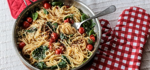 Cherry Tomato, Basil, Spinach and Parmesan Pasta 1
