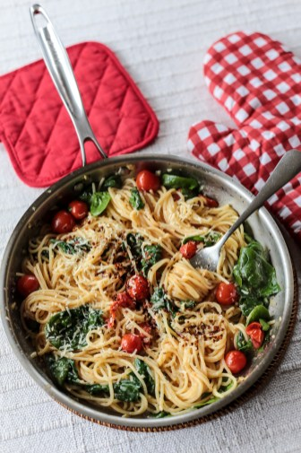 Cherry Tomato, Basil, Spinach and Parmesan Pasta 2