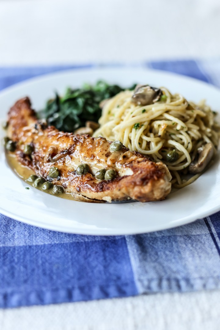 Fish Piccatta with Thin Pasta and Wilted Spinach 2