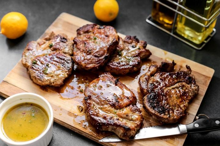 Grilled Pork Loin Chops with Lemon Viniagrette Wide