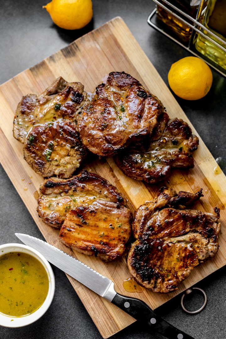 Grilled Pork Loin Chops with Lemon Viniagrette
