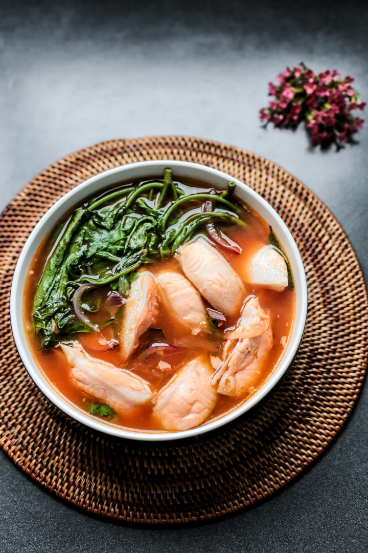 Spicy Salmon Bellyand Kangkong Soup