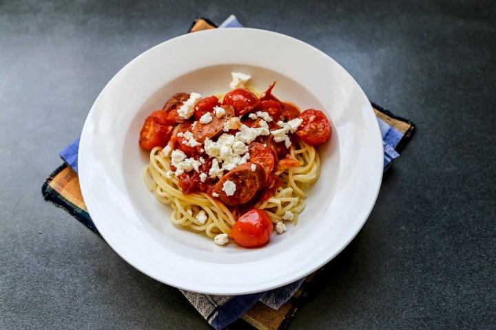 Chorizo, Tomato and Feta Pasta Wide