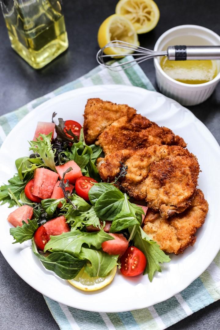 Pork Tonkatsu with Watermelon Tomato Salad