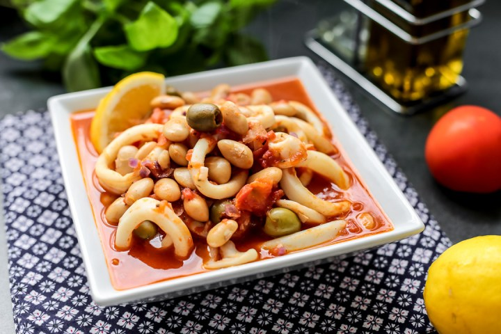 Squid with Olives and Butter Bean Wide