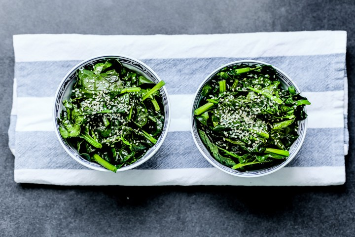 Sauteed Spinach in Sesame Oil Wide