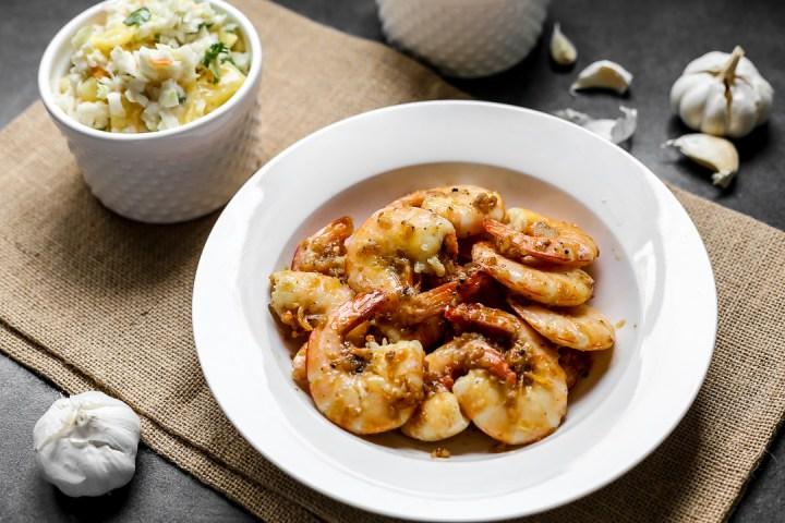 Hawaiian Garlic Shrimp Wide