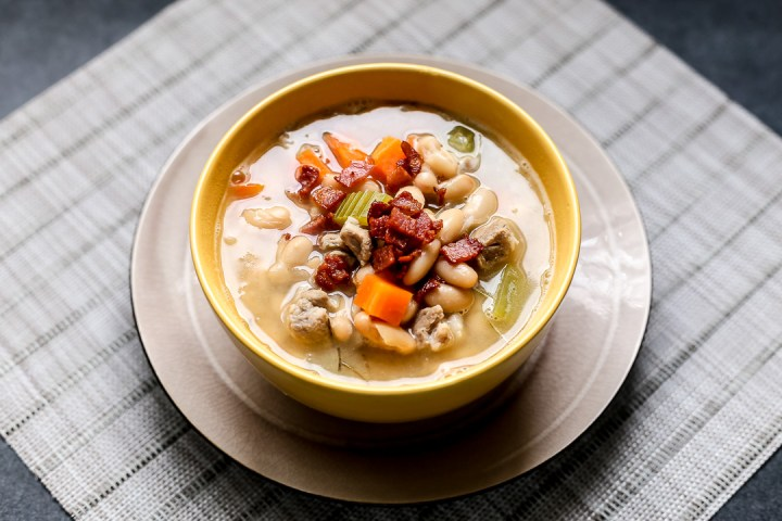White Bean, Bacon, and Pork Soup with Thyme Wide