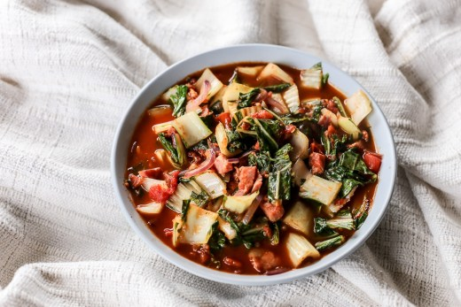 Bok Choy and Bacon in Tomato Sauce 1