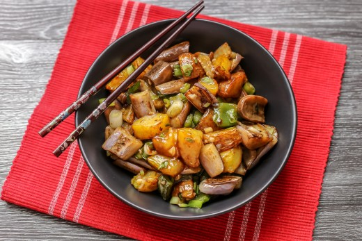 Di San Xian (Fried Potato, Eggplant and Pepper in Garlic Sauce 地三鲜) 1