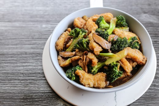 Stir Fried Fish and Broccoli in Mushroom Black Bean Ginger Sriracha Sauce 1