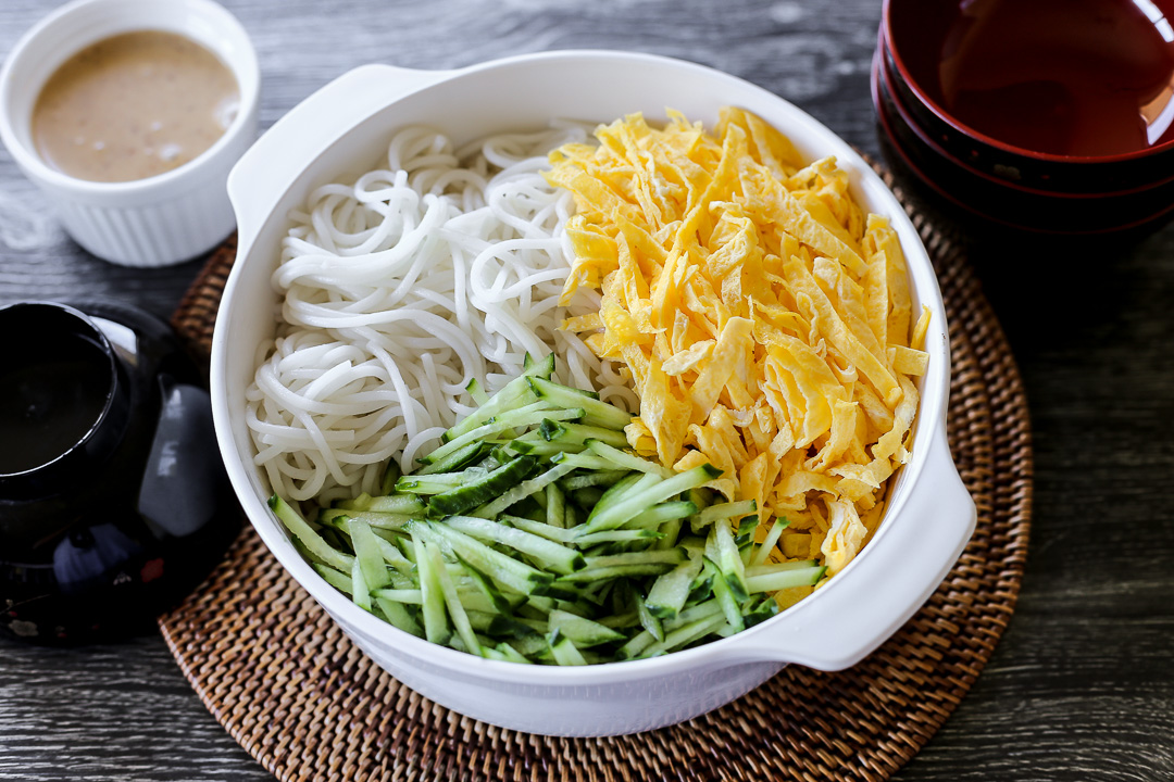 Cold Noodles With Sesame Sauce, Egg and Cucumbers