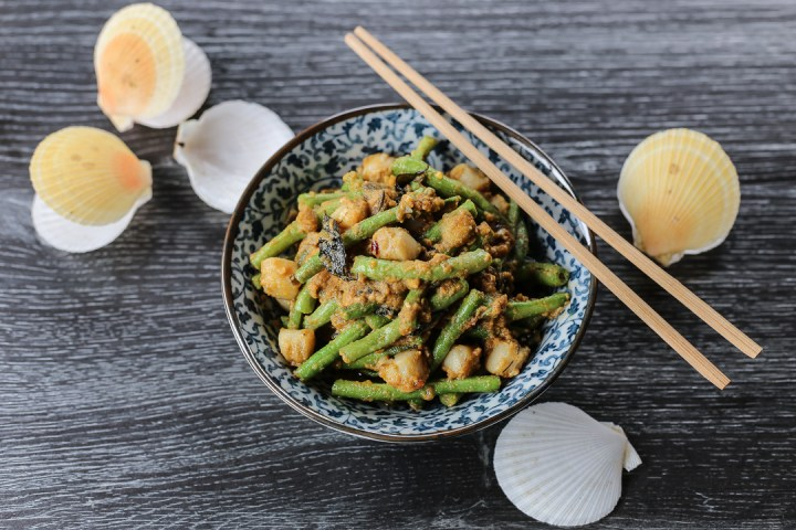 Salted Egg Yardlong Beans and Scallops 1
