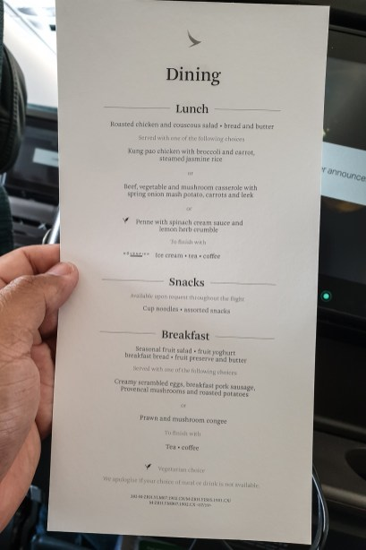 Airline Food Cathay Pacific 2019 15