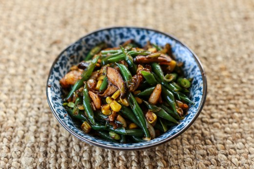 Stir Fried Green Beans, Corn and Mushrooms 1