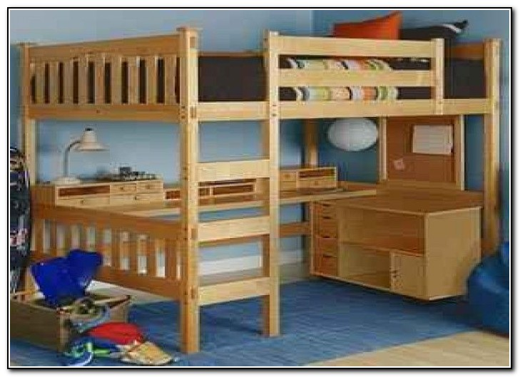 Queen Bunk Bed With Desk Underneath Beds Home Design