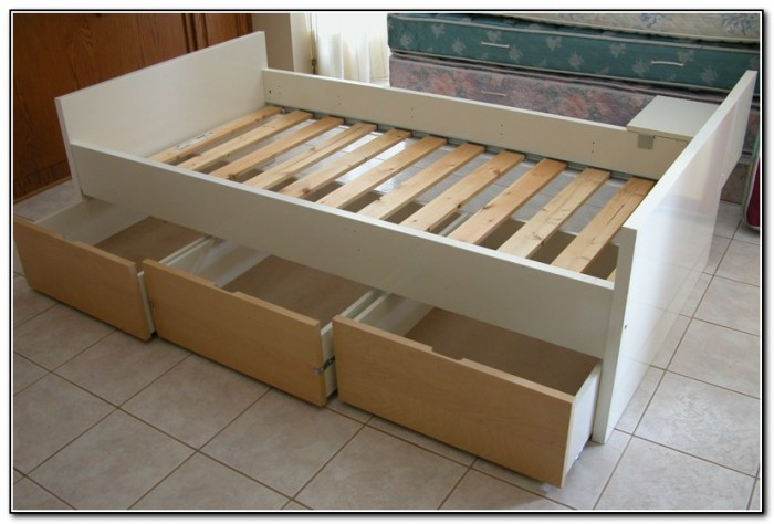 Twin Bed Frame With Drawers Ikea Beds Home Design