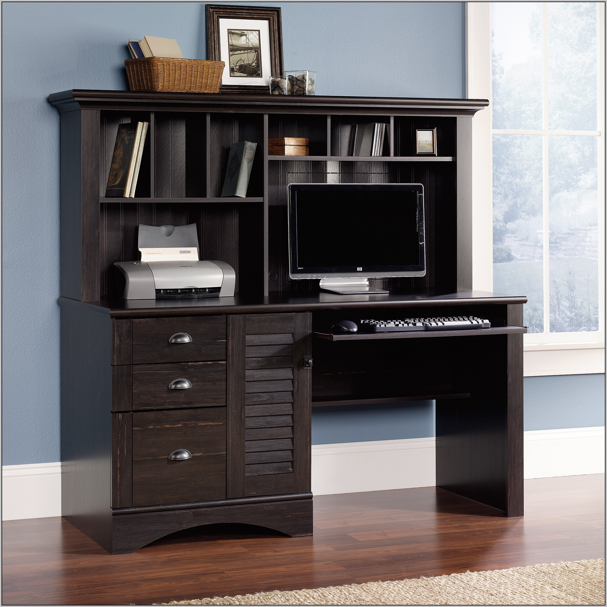 Sauder Harbor View Computer Desk With Hutch Black Desk Home Design Ideas LLQ08VKQkd21437