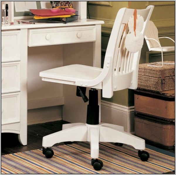 White Wood Desk Chair with Wheels