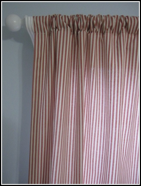 Red Ticking Stripe Curtain Panels Curtains Home Design