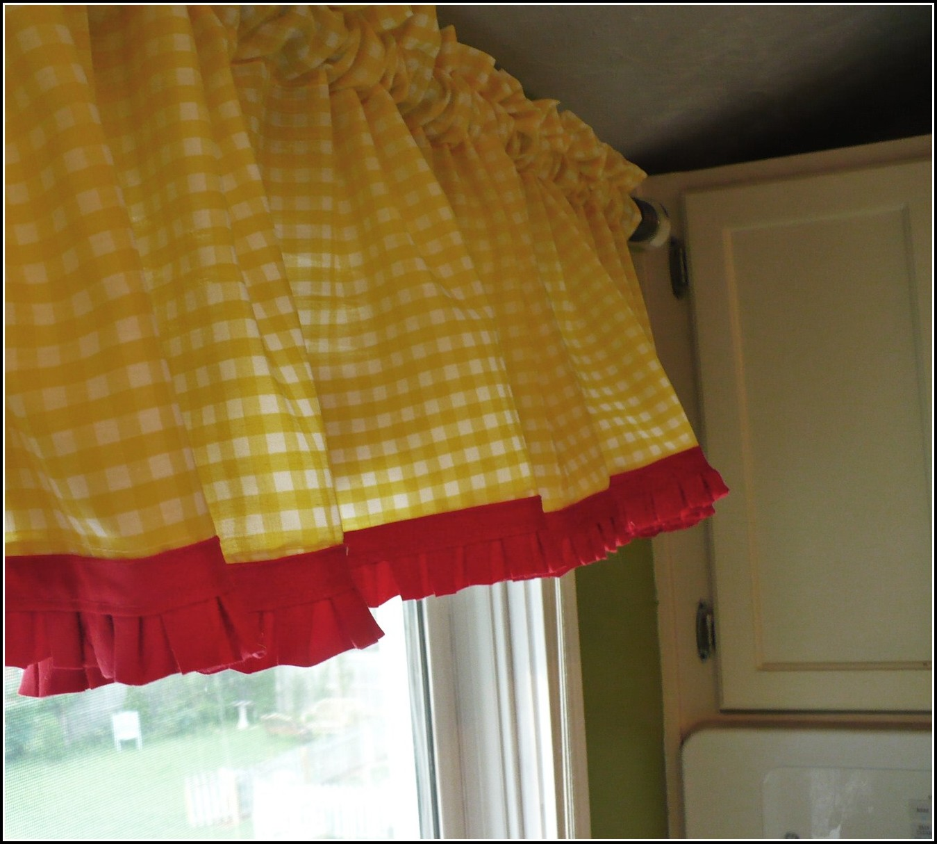 yellow and red kitchen curtains unlacquered brass faucet home design